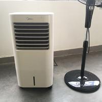 美的AC120-17ARW空调扇外观展示(出风口 操作面板 水箱 万向轮)