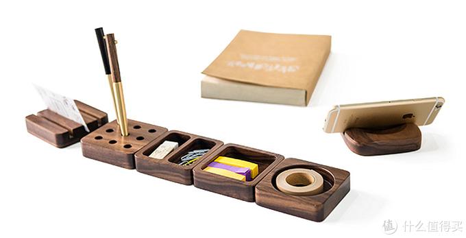 桌面小物—晒 桌面胡桃木收纳套装