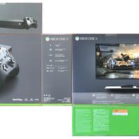 微软 Xbox One X 1TB 游戏主机外观展示(电源线|主机)