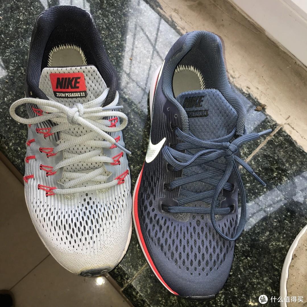 600KM的NIKE 耐克 Air Zoom Pegasus 33  与70KM PEGASUS 34 跑鞋对比