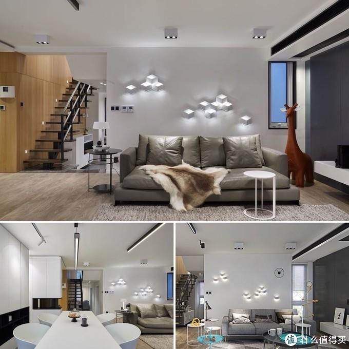 客厅壁灯墙面的效果图与实景右下为效果图