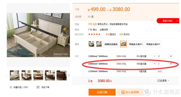 alibaba上同款床(材质、详情页、发货店完全100%相同)售价3080