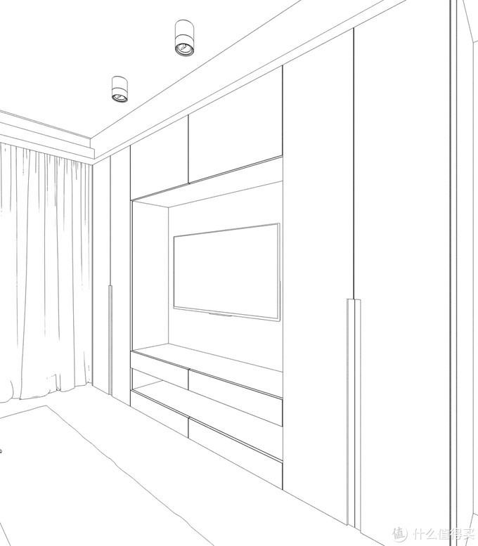 主卧室电视墙储物柜草图