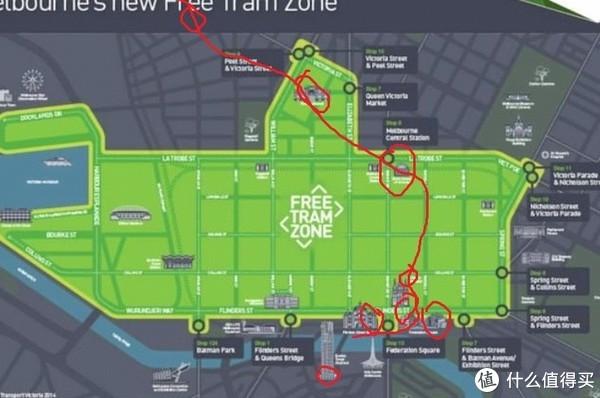 墨尔本市区免费交通区域图