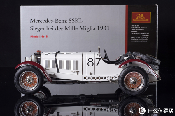哪个车模逼真?一个伪车迷的车模入坑之旅 篇三:霸气的王者 白色巨象 CMC 1/18 奔驰 SSKL Mille Miglia 1931冠军车模