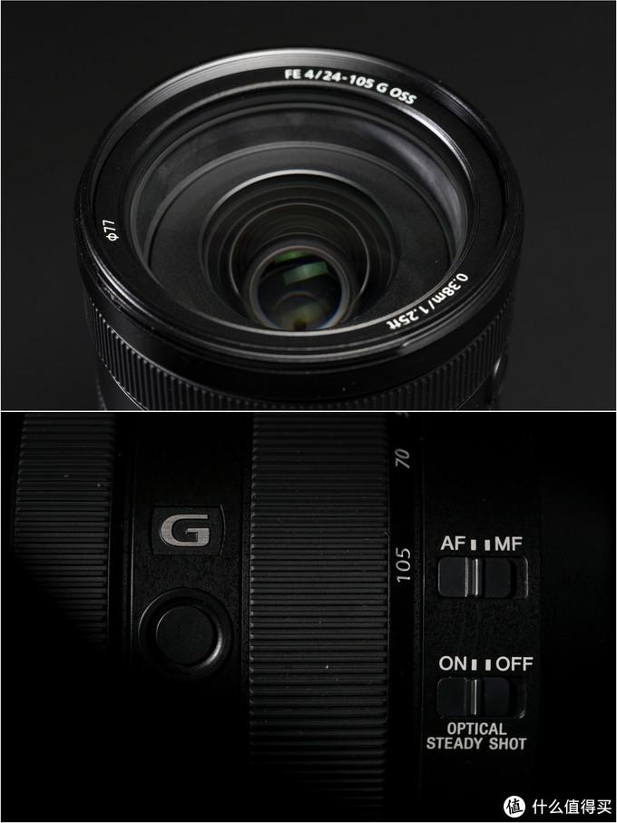 ↑77mm滤镜,有对焦锁定钮,焦方式切换和OSS开关