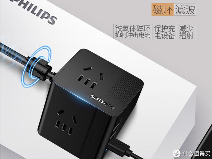 桌面好帮手——飞利浦 便携迷你USB桌面旅行插座