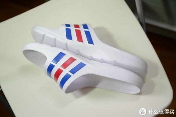 #全民分享季#Adidas 阿迪达斯 DURAMO SLIDE 彩色条纹拖鞋 开箱