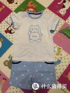 聚划算给宝宝买的短袖套装,颜色清新靓丽,可爱风来一波,48元还是很值得!