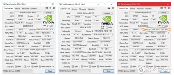 ▲ GPU-Z中核心型号只能作为一个参考 ,标准满血版(左侧图)的是'1D10' 'N17S-G1-A1',但也有像小米Pro(中间图)一样采用了'1D12' 'N17S-LG1-A1'的接近满血版的低压版,右侧侧是标准的残血版'1D12' 'N17S-LG1-A1'。