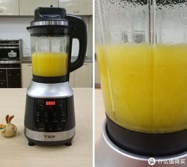 2分钟后打好的果汁基本上没有什么气泡,看起来非常的浓郁细腻,点个赞。