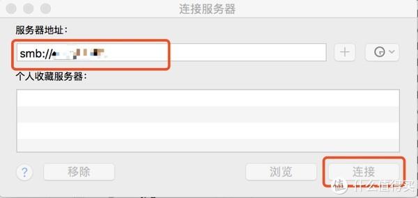 按command+k调用连接服务器窗口,在服务器地址端输入刚才开启SMB服务时提供的地址,点击连接