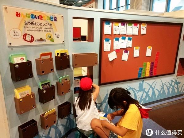 这一面墙就是做观察日记的工具区,很多小朋友一看到就自己跑去拿,左边盒子里的是小板子,取一张纸夹在板子上,方便写字画画,做好观察日记还可以贴在右边的木毡板上分享。