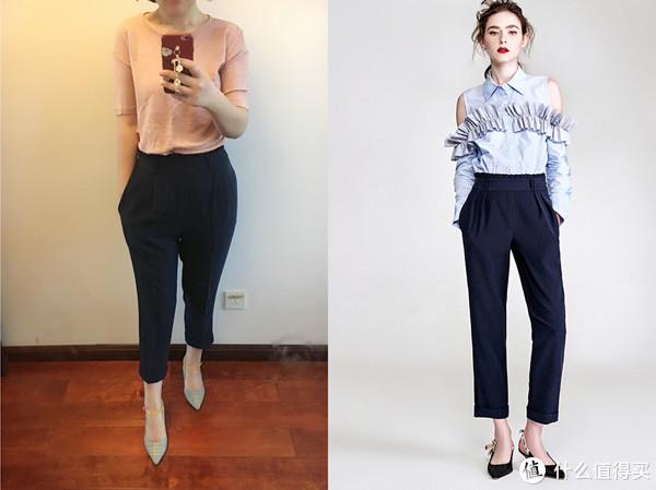 藏青色纸袋裤是聚酯纤维面料,不易皱,搭配衬衣T恤均可,把上衣扎进去更显比例。