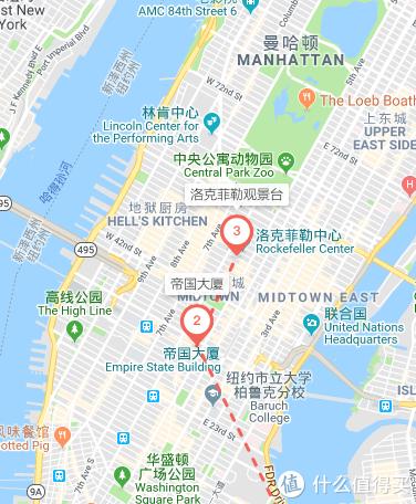 帝国大厦及洛克菲勒大厦位置比较
