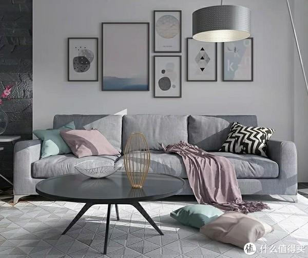 灰色与其他色搭配得适,冷淡中不失温暖,觉的大块灰色单调,不妨跳色抱枕