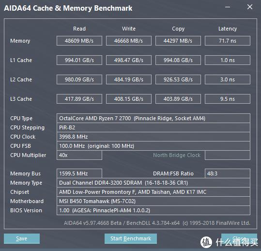 AIDA64内存缓存性能跑分