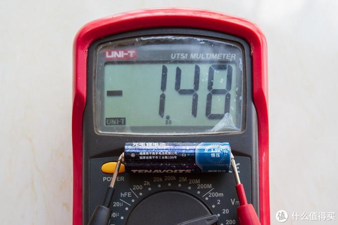 4粒TENAVOLTS 5号充电锂电池电压分别为1.50V 1.48V 1.49V 1.48V