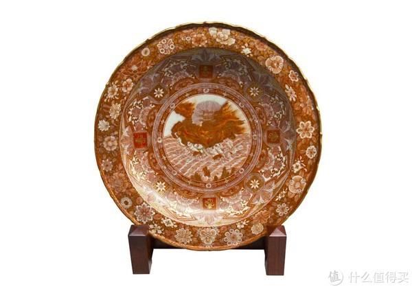 九谷烧 - 赤绘金栏手花模六角形花形碗,浅井一护(1836-1916)