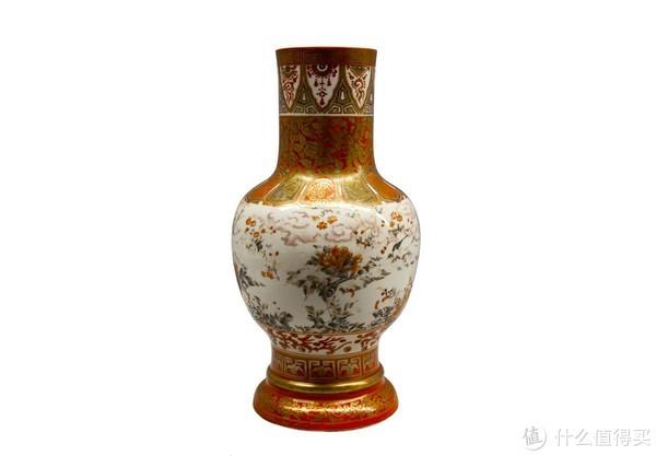 金栏手花瓶,花鸟九谷烧,松本诚平(1851-1918)作于明治9年
