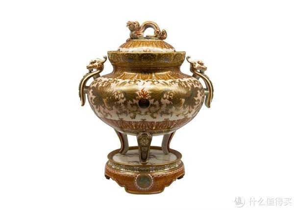 龙形把手的大香炉,九谷烧,春奈重治(1847-1913)作于明治11年