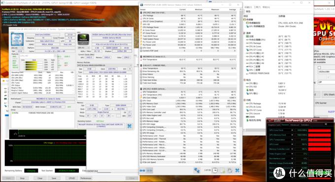 双拷30分钟,CPU 87度,频率2.3GHz,功耗15W;GPU 91度,频率1455MHz,功耗还是不知在哪看