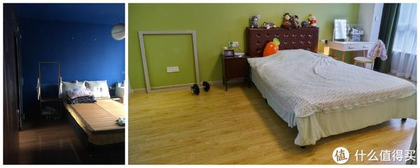 卧室, 床品是临时的, 没来得及买. 除开床品还是有复古的感觉的