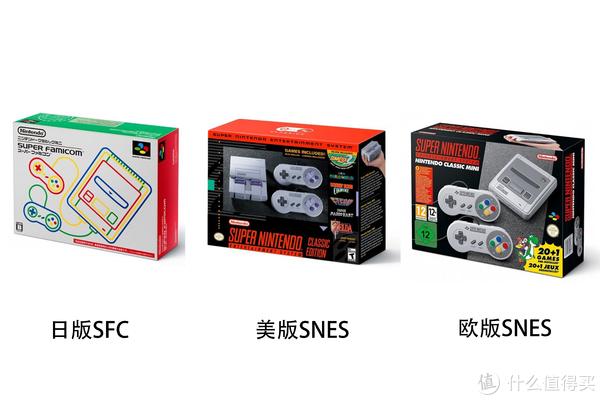 首先跟大家说一下min sfc一共有三个版本:日版、美版和欧版,其中日版和欧版外包装不一样,但主机造型一样,美版则差异较大,但都跟随了各地区的传统造型复刻。