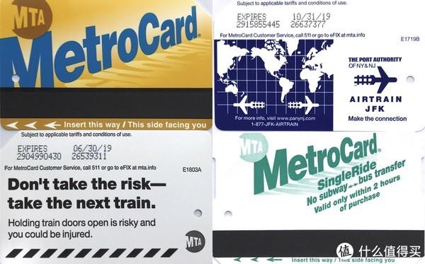 左:纽约地铁卡(储值卡或PASS正反面,塑料材质);右上:JFK捷运地铁卡(正面与普通地铁卡相同);右下:纽约单程地铁卡(纸质材质)