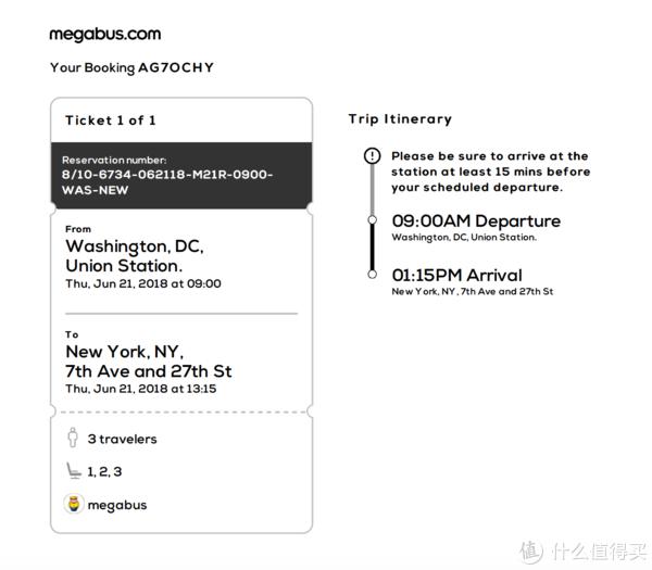 MEGABUS车票(需打印)