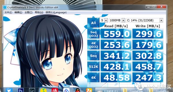 CrystalDiskMark 第一遍,测试次数默认5次