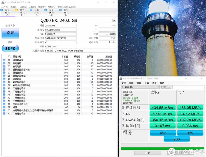 这个数据是我格式化系统后安装好win10装了软件填了50g左右时候测试1G
