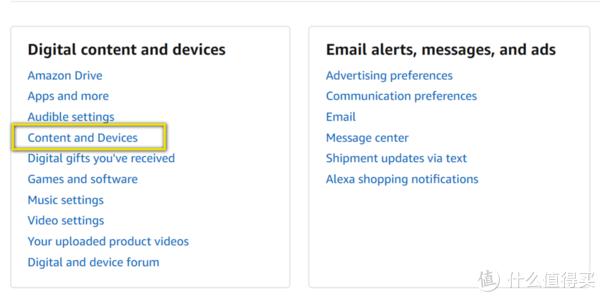 在你的Amazon账户后台页面,点击Content and Devices(内容与设备)