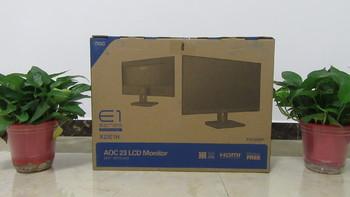 AOC X23E1H 22.5寸显示器开箱展示(包装|支架|电源线|数据线)