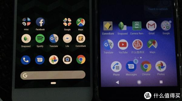 在我看来,右边的索尼UI,默认图标大小有些太大了。Pixel的原生UI的图标大小则恰到好处。