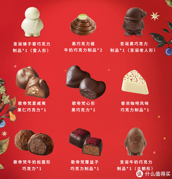 内含的十个圣诞定制巧克力