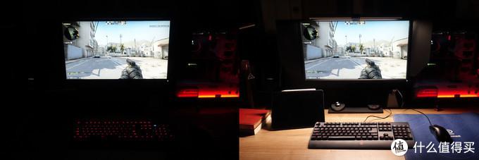 当正在玩游戏时全黑环境和开了ScreenBar Plus挂灯的区别,毋庸置疑很明显,开了灯之后屏幕发出的光对眼睛不会那么大刺激性。
