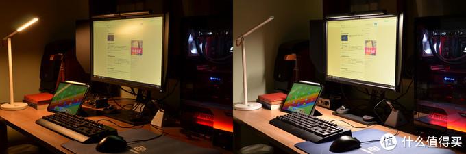 室内任何灯都没有的情况下只点亮小米台灯和ScreenBar Plus的对比,孰优孰劣一眼便知。