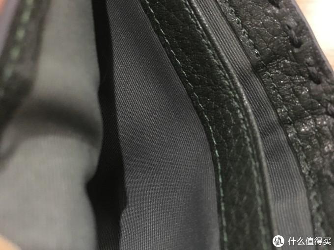 横纹纺布夹层,真皮缝制包边