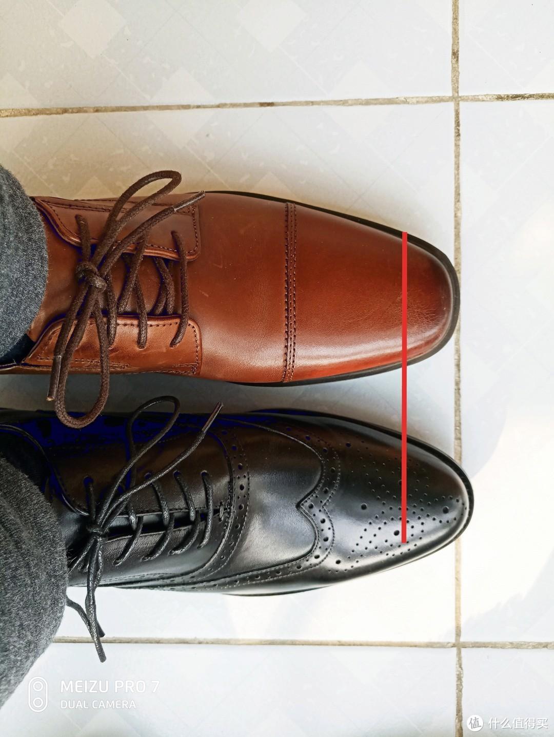 红线是大拇指尖的位置,尖头鞋前面空的地儿挺长
