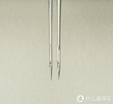 左为进口机针,针头更尖细,右为国产机针