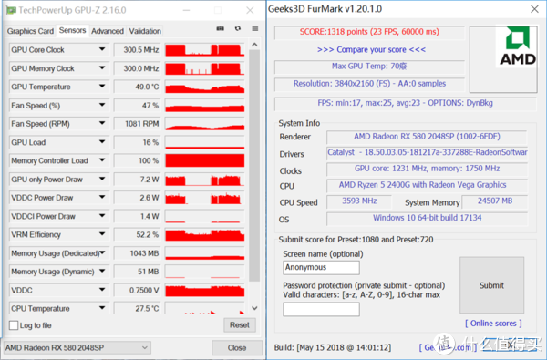 迪兰RX580 2048SP 4G X-Serial战将i7-8700与R5 2400G双平台体验点评