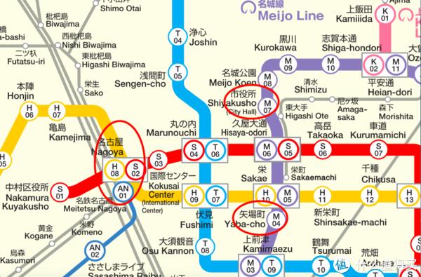 当日地铁路线图1:名古屋站—名古屋城(市役所站)—矢场猪 矢场町本店(矢场町站)