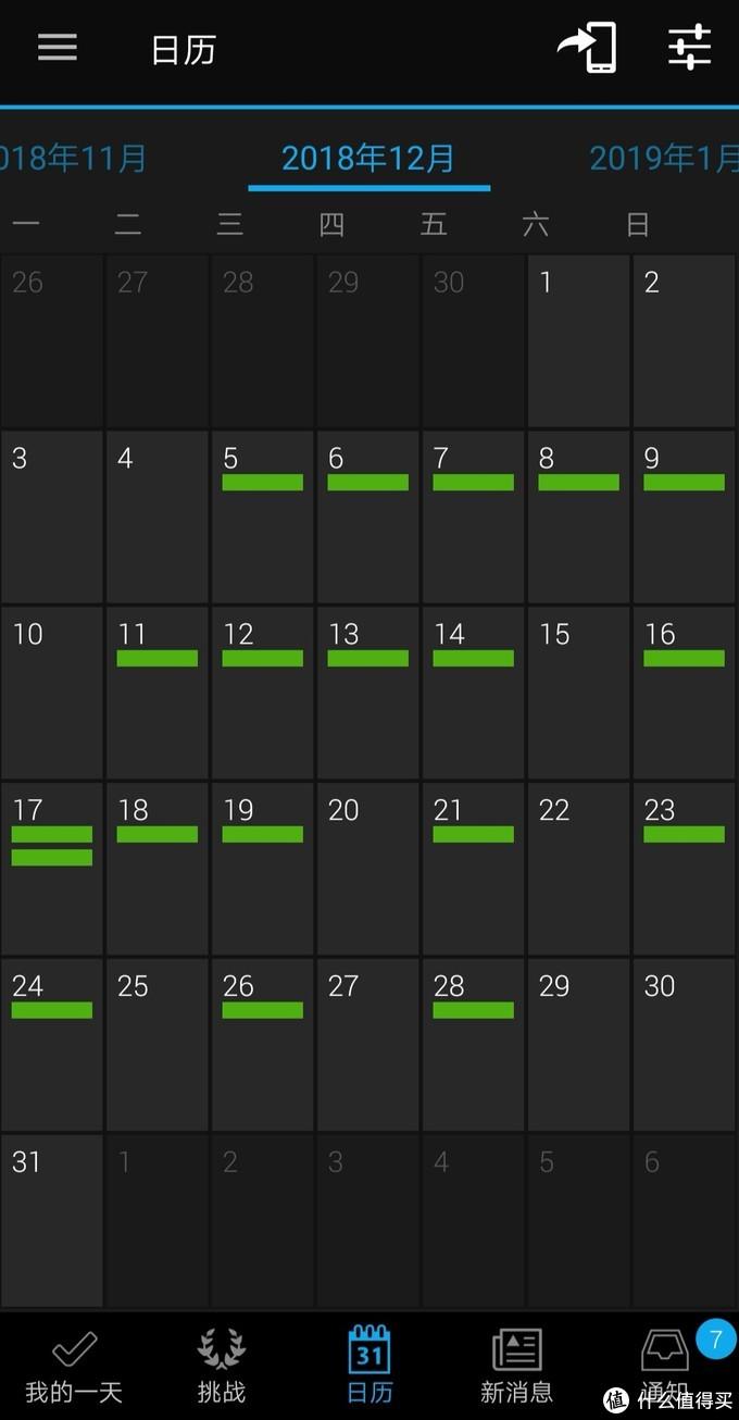 绿色表示有运动项目,我的大多是跑步