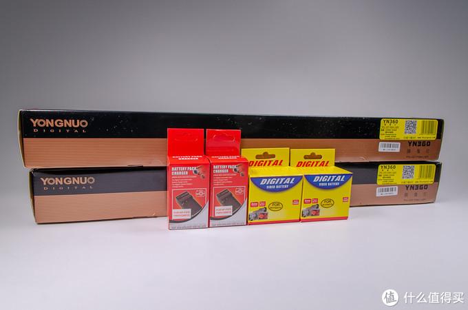此次直接购买了双灯配置,由于产品本身是不含适配器和电池的,所以又额外添加的电池和充电器
