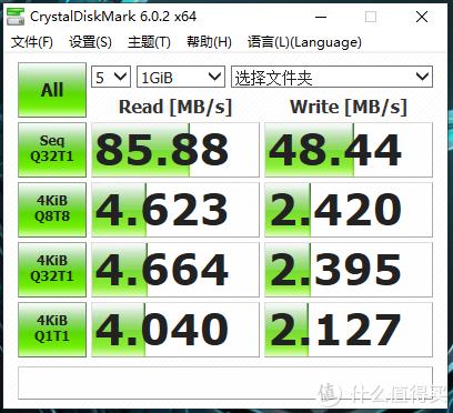 使用CDM测速,持续读写分别为86和49MB/s左右,U盘就不要太看随机数据了