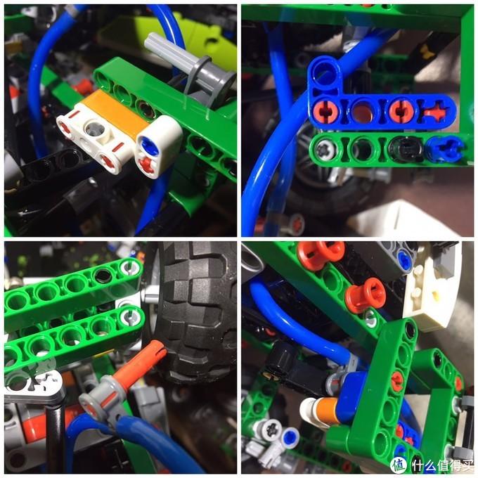 用1x4带截止的十字轴替换的原来5单位的轴,把刚才那个结构安装到车架上,然后把输气管固定好,装上3x5的L型孔臂