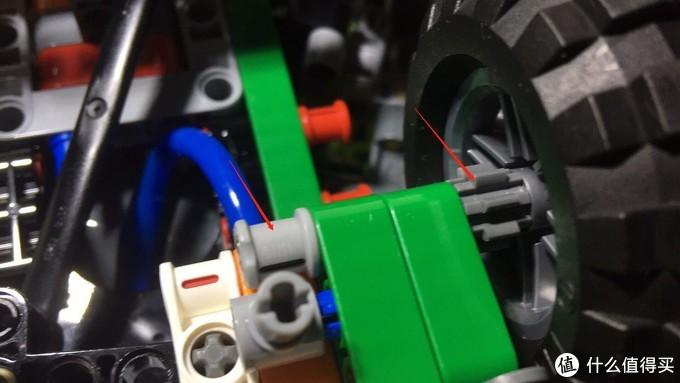 用1x6十字轴固定第二组轮子,图上齿轮是8齿