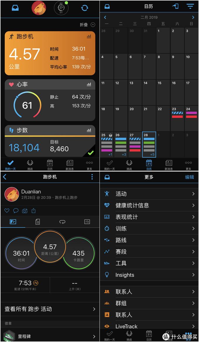 iOS手机客户端的connect显示,可以查看当天的活动情况,也可以查看历史运动详细数据信息