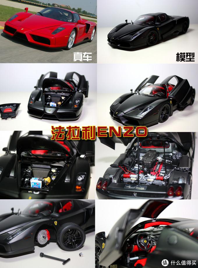 BBR品牌,1:18比例,法拉利Enzo是历史上的一款传奇车型,以公司创始人的名字Enzo Ferrari(恩佐·法拉利)命名,该车模2门及前后盖可开,轮胎可拆卸,带有小皮包模型,做工精致。